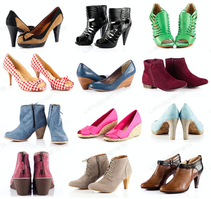 female footwear.  female shoes over white