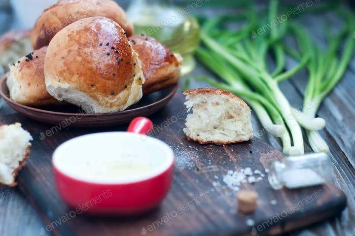 buns with fresh herbs and olive oil