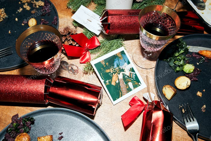 Messy Table With Leftover Vegetarian Meal After Christmas Lunch With Instant Film Print