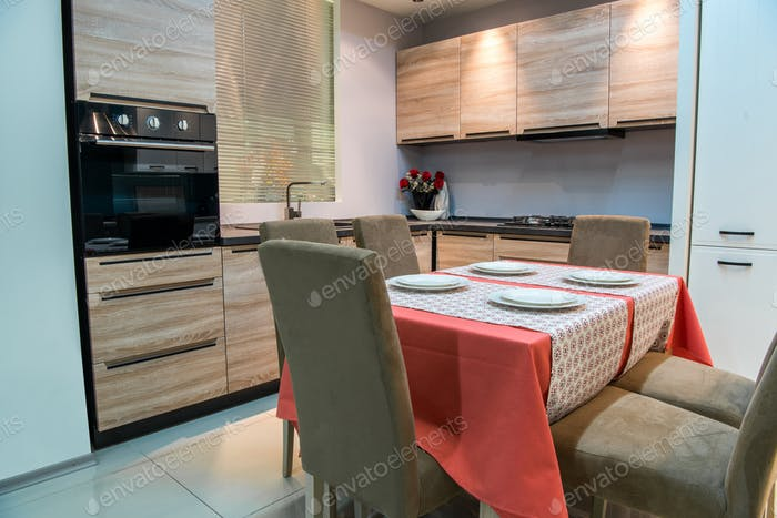 modern kitchen and dinning room interior