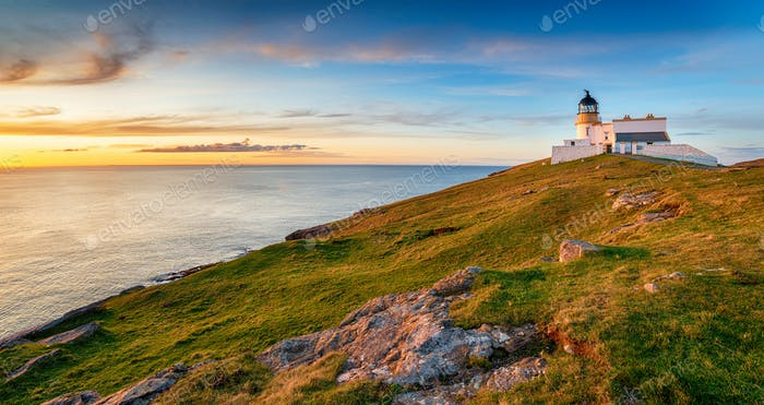 Sunset at Stoer head lighthouse in Scotland