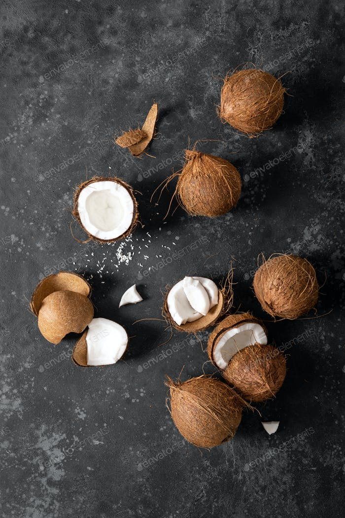 Coconuts cracked and whole nuts