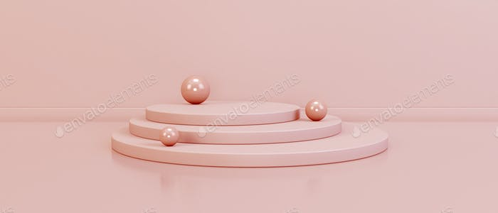 Minimalistic podium with spheres. Design for product presentation.