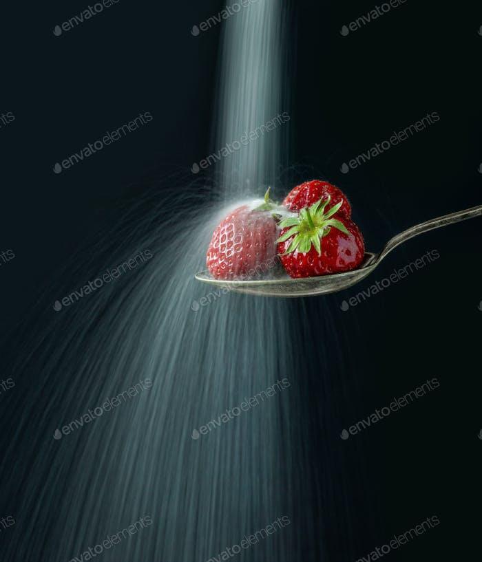 spoon of strawberries