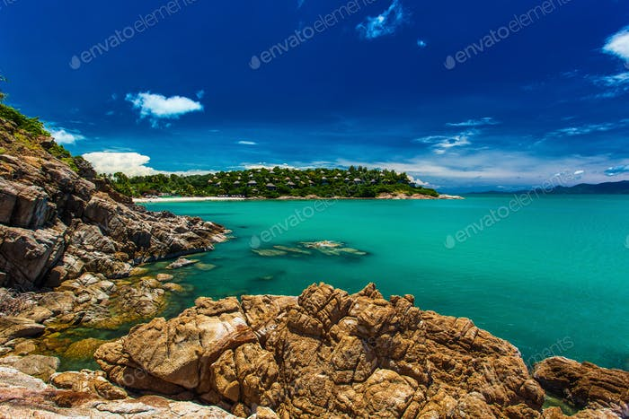 Rocks and cliffs over the ocean on north side of Koh Samui islan