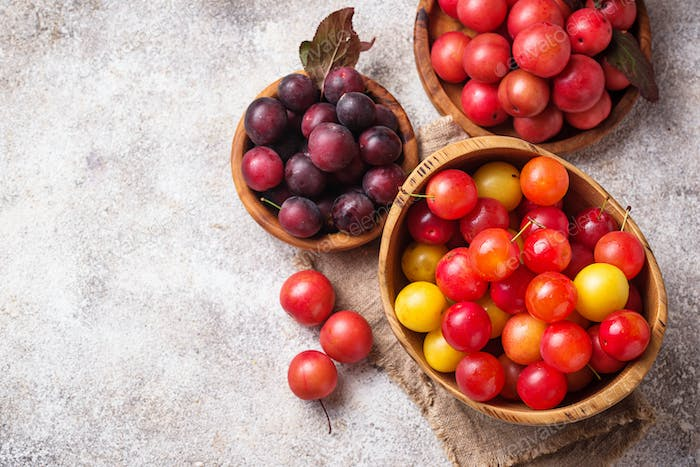 Various type of cherry-plum in wooden bowls
