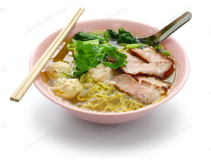 bami nam, egg noodles soup served with roast pork, thai food
