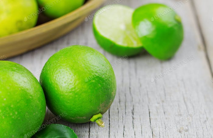 Lime on wooden floor