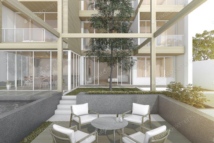 3d rendering outdoor garden of modern wood building with pool