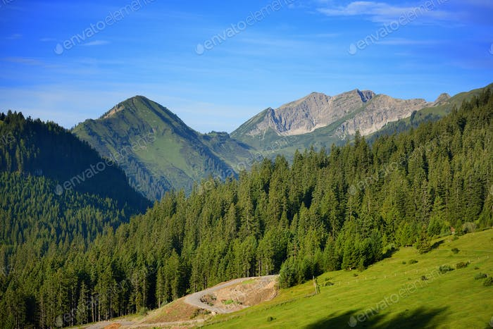 Beautiful summer mountain landscape in the Alps. Sunny morning