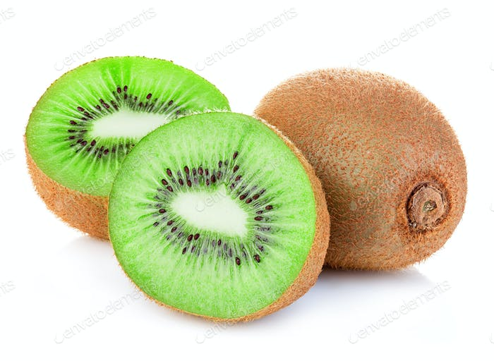 Kiwi fruit close-up isolated on white background.