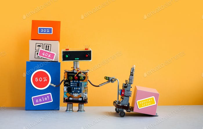 Special offer big sales discount promotion poster. Funny robot with shopping cart and boxes