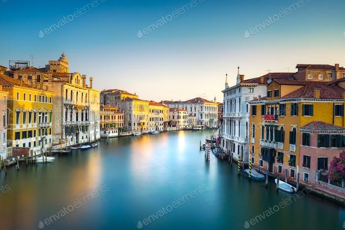 Venice grand canal or Canal Grande, view from Rialto bridge. Ita