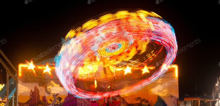 Local State Fair Carnival Ride Long Exposure