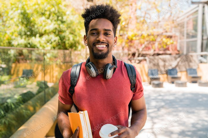 Afro university student in campus.