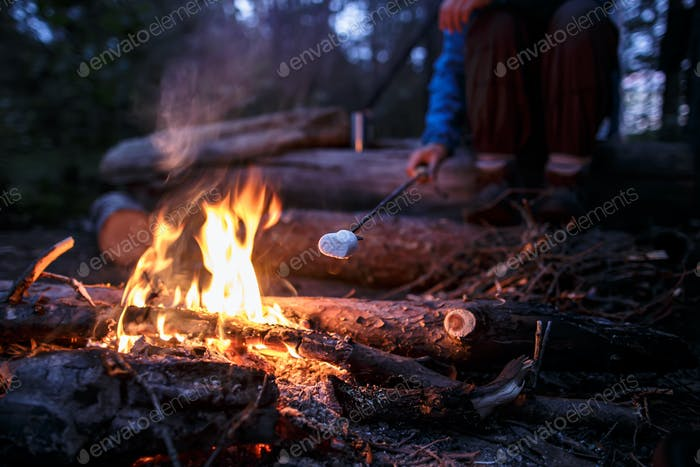 Tasty marshmallow is fried by a woman over a campfire in the forest.