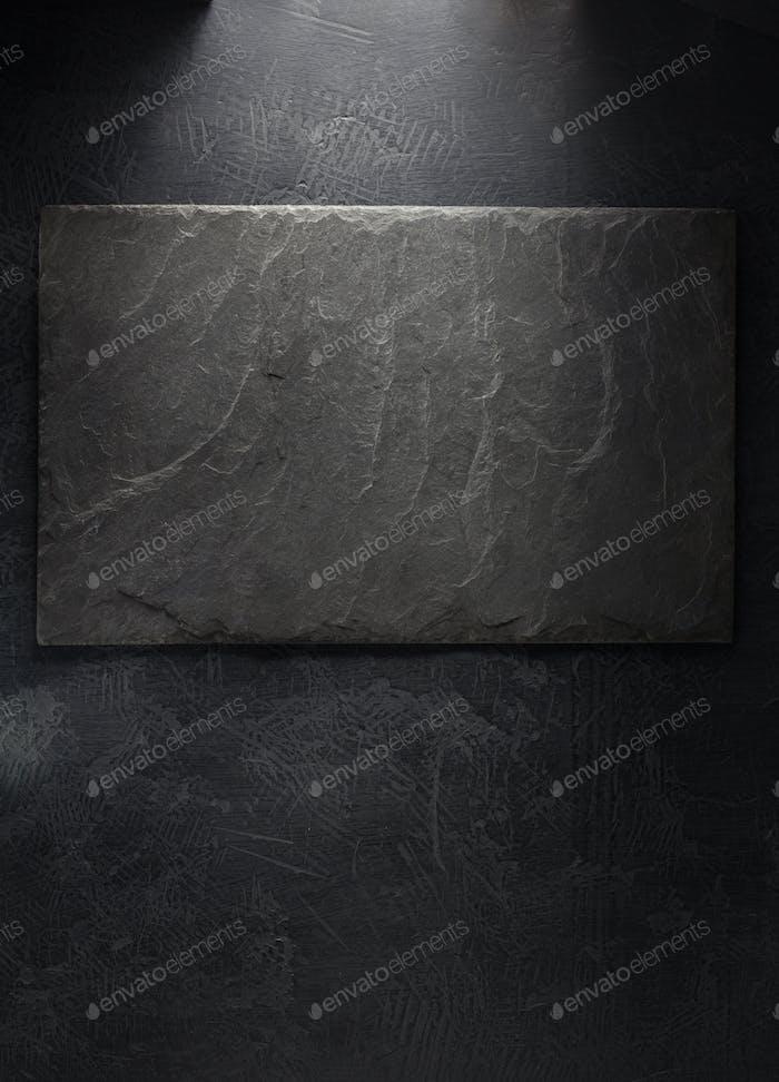 slate signboard at black background