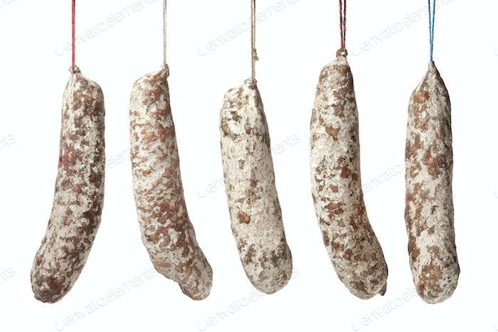 French Sausages hanging on a string