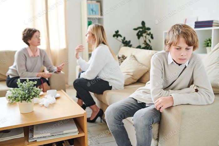 Teenage boy being misunderstood by mother