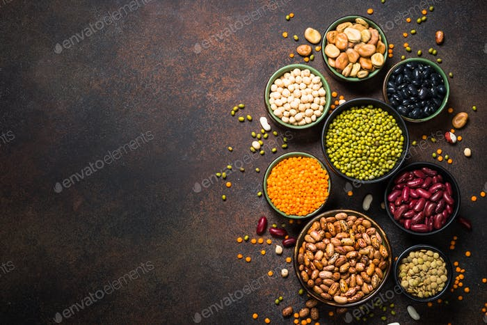 Legumes, lentils, chikpea and beans assortment