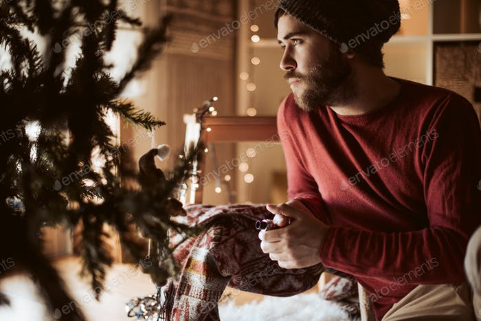 Trendy man using a vaper - Christmas