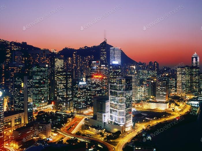 Downtown Hong Kong at Dusk