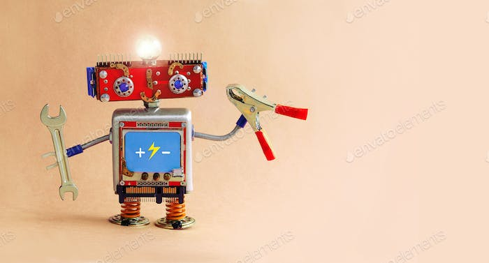 Electrician robot with hand wrench and pliers. Futuristic toy robot handyman with a glowing lamp