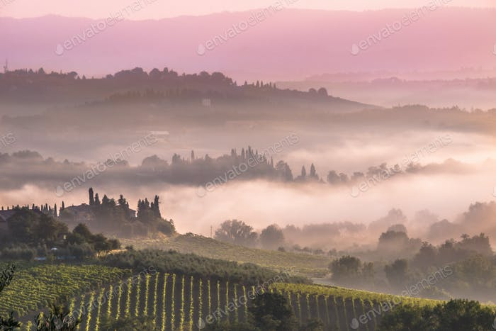 Tuscan Village Landscape in the morning