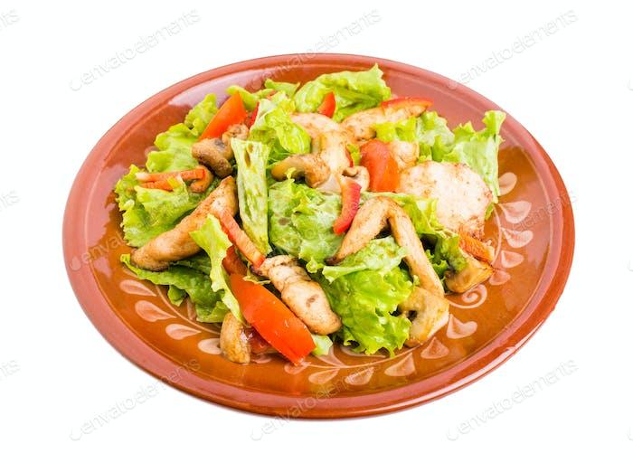 Delicious chicken salad with mushrooms.