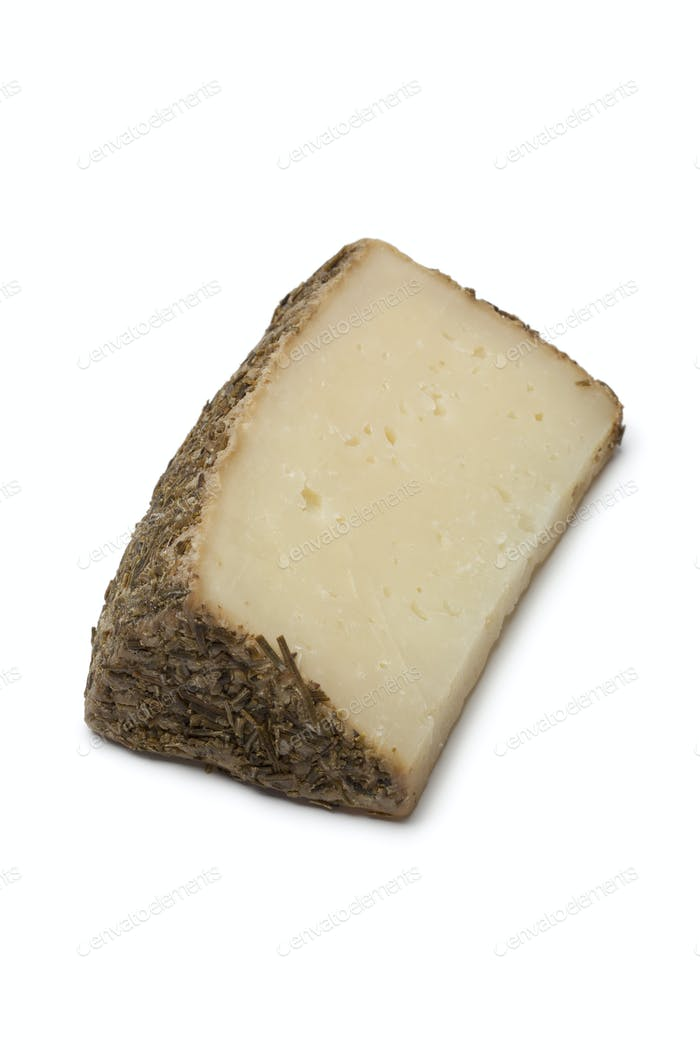 Piece of sheep cheese with rosemary