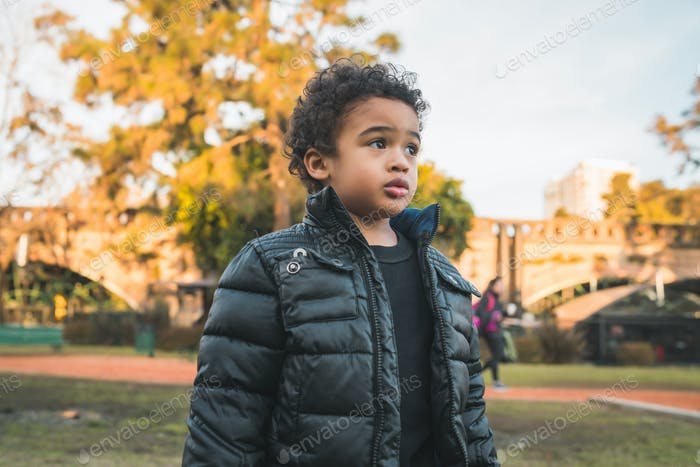 African american boy at the park.