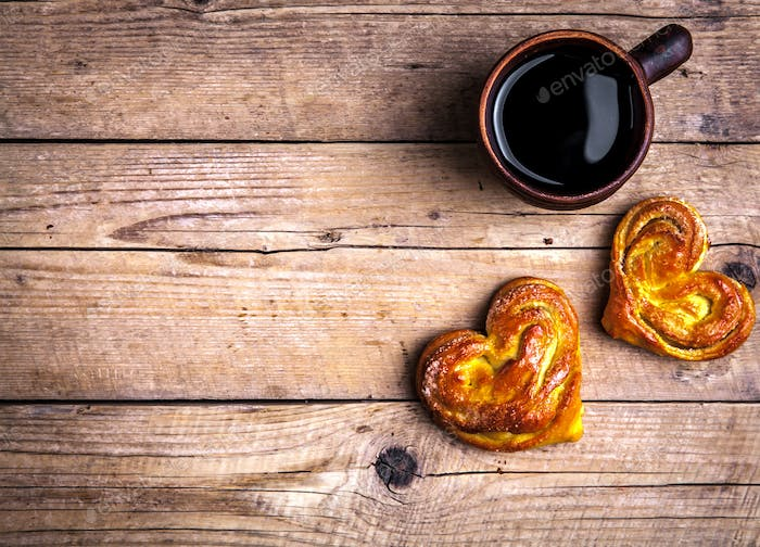 Delicious pastries for Breakfast with coffee. Morning, drinks, food
