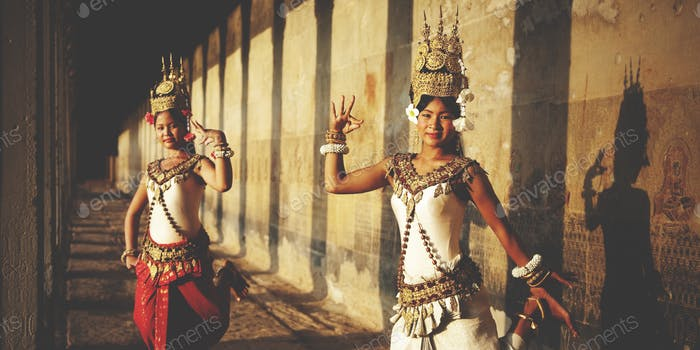 Aspara Dancer Angkor Wat Sepia Toned Traditional Concept