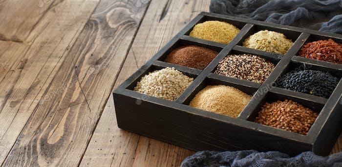 Glutenfreie Körner in einer Box