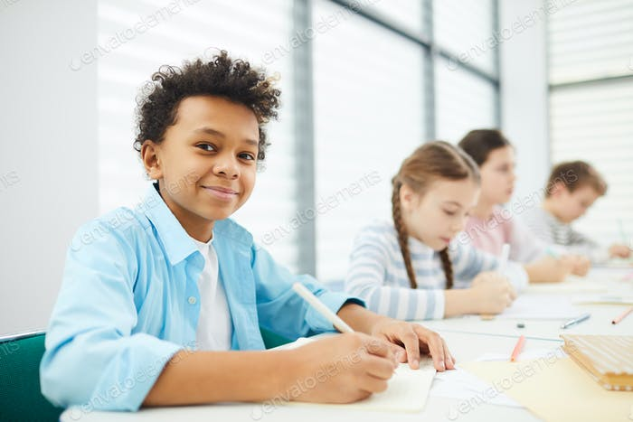 Boy With Classmates During Lesson