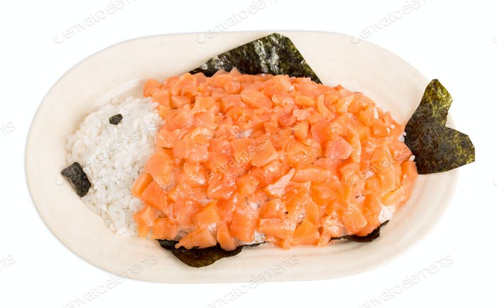 Salmon and rice in form of fish.