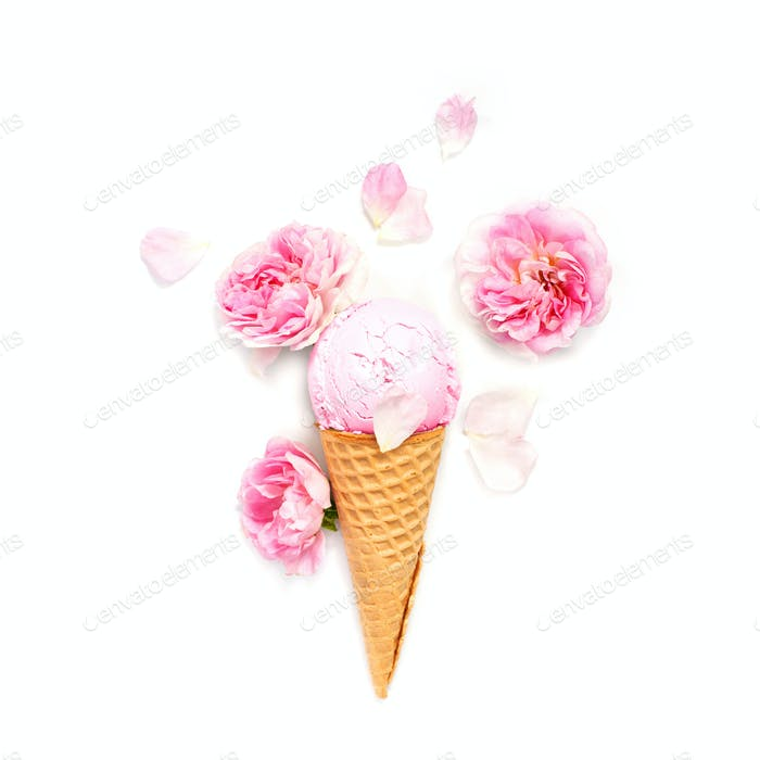 Pink Ice Cream Decorated with Roses