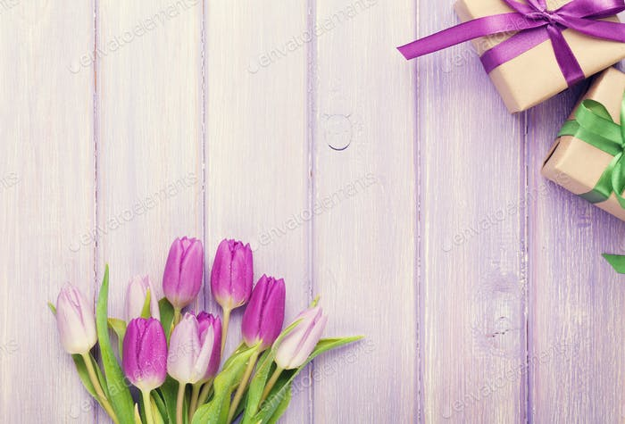 Purple tulip bouquet and gift boxes