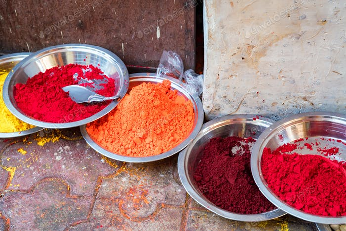 Close-up photo of variety Indian paint powders