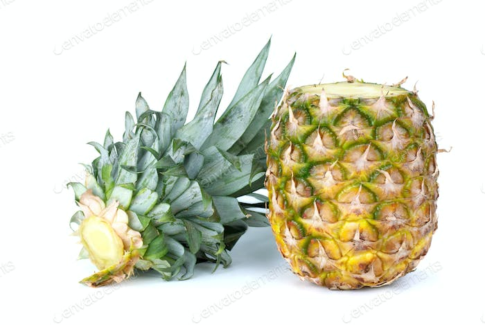 Pineapple and sliced-out leaves