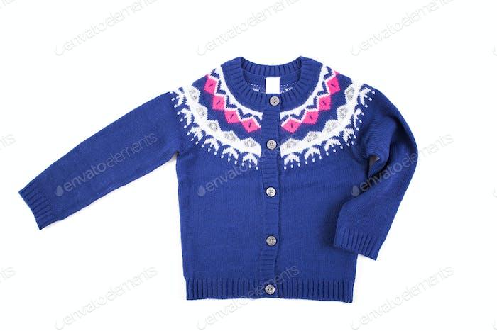 Stilvolle blaue Pullover Kind auf einem weißen Hintergrund