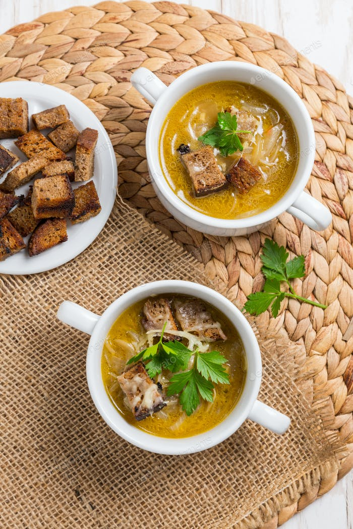 Traditional French onion soup with toasted bread croutons