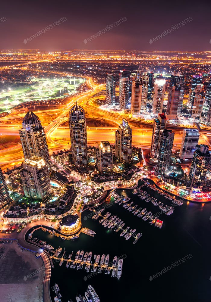 Majestic colorful dubai marina skyline during night. Dubai marina, United Arab Emirates.