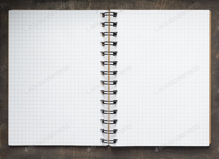 open notebook or book with empty pages