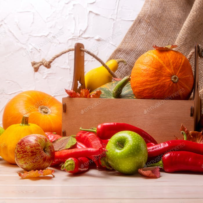 Rustic box with fall vegetable and pumpkin