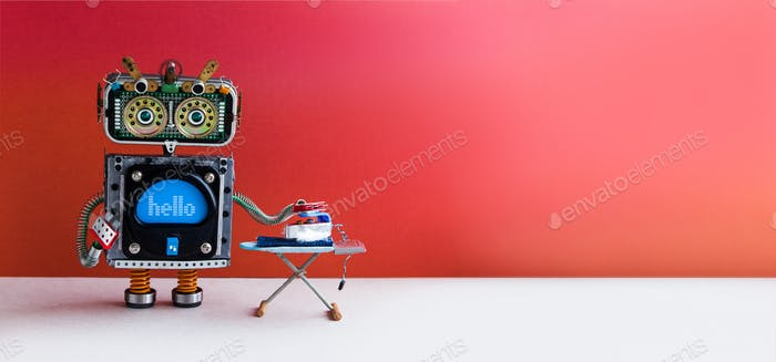 Smart home technology concept. Domestic robot houseworker ironing blue jeans