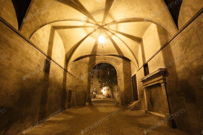 Hall in castle in Cesky Krumlov, Czech republic. UNESCO World He