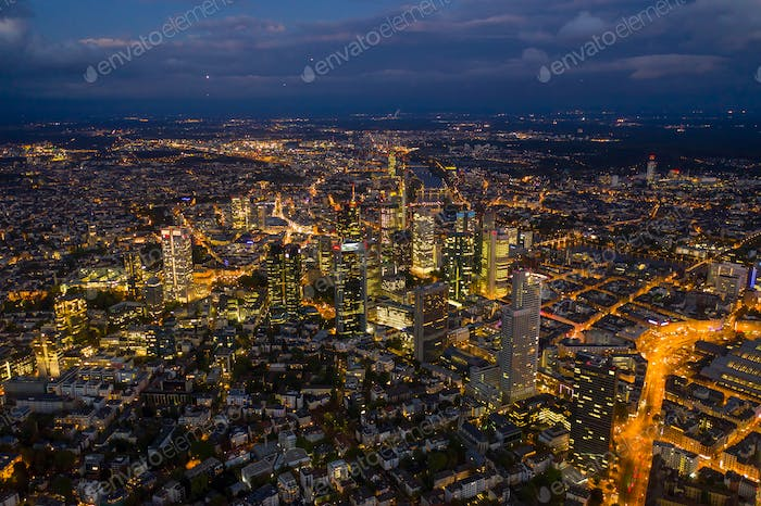 Incredible Aerial View over Frankfurt am Main, Germany Skyline at Night with City Lights