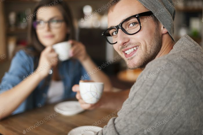 Portrait of hipster man at cafe