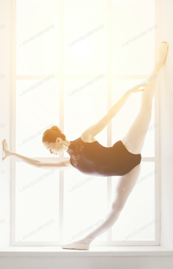 Beautiful ballerine stands in fifth ballet position